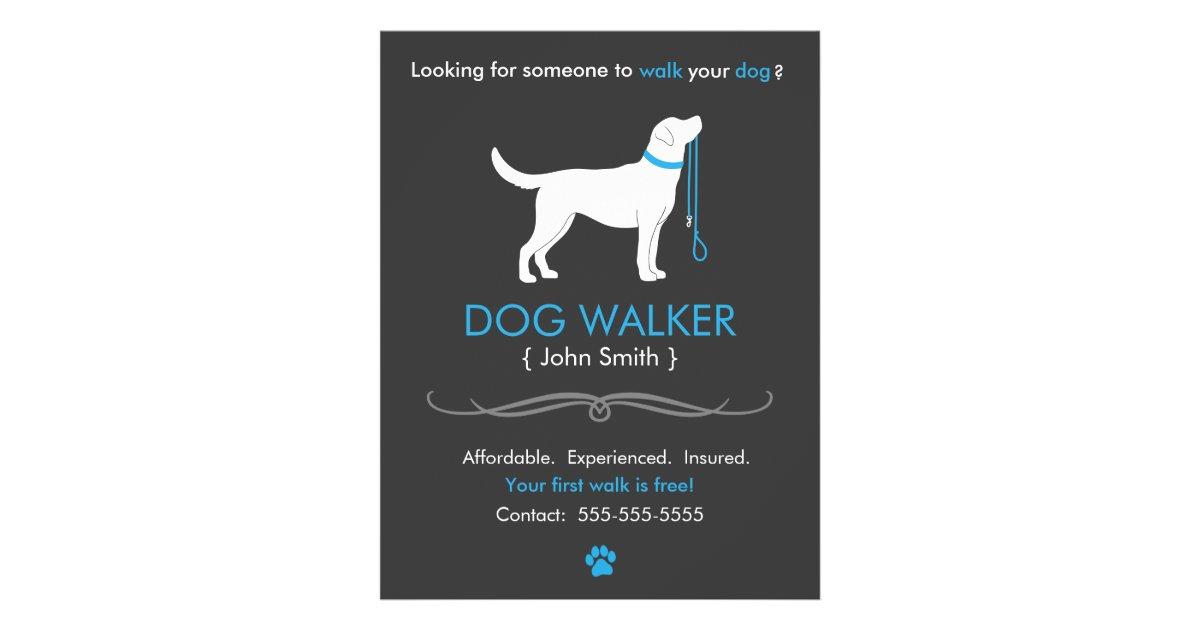 dog walker walking business flyer template zazzle. Black Bedroom Furniture Sets. Home Design Ideas