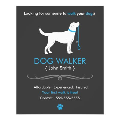 dog walker walking business flyer template small zazzle com
