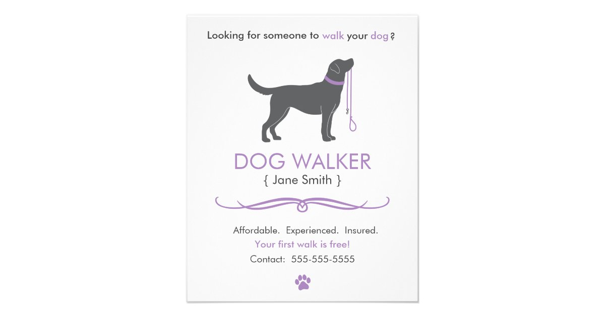 Dog Walkerwalking Business Flyer Template Small Zazzle