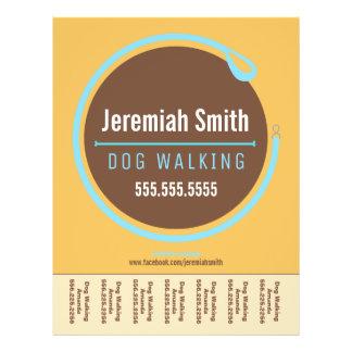 """Dog Walker Walking Leash Loop Blue Tear Sheet 8.5"""" X 11"""" Flyer"""