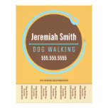Dog Walker Walking Leash Loop Blue Tear Sheet Flyers