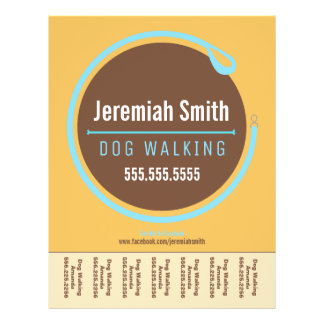 Dog Walker Walking Leash Loop Blue Tear Sheet Flyers