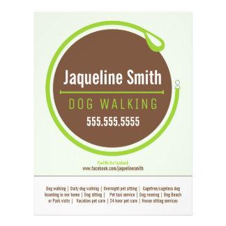 Dog Walker Walking Leash Loop Green Promotional Flyer