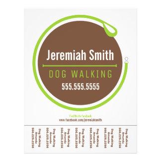 """Dog Walker Walking Leash Loop Green Tear Sheet 8.5"""" X 11"""" Flyer"""