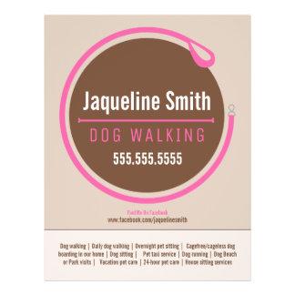 Dog Walker Walking Leash Loop Pink Promotional Flyer