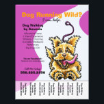 """Dog Walker Walking Leashed Terrier Tear Sheet<br><div class=""""desc"""">Promote your dog walking business with these full color eye-catching flyers that you personalize with your own info. Original design by Andie,  illustrator and creator of Off-Leash Art™,  featuring her hand drawn dog illustration.</div>"""