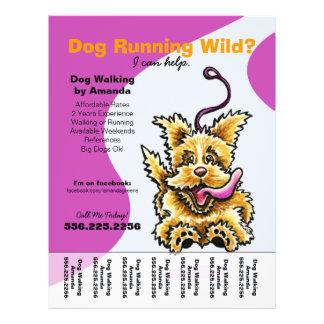 """Dog Walker Walking Leashed Terrier Tear Sheet 8.5"""" X 11"""" Flyer"""