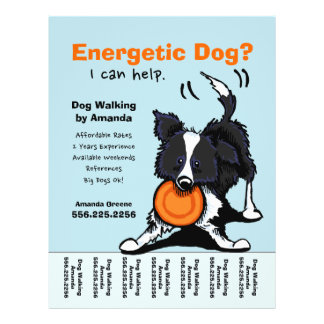 "Dog Walker Walking Personalized Tear Sheet 8.5"" X 11"" Flyer"