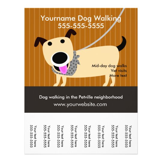 dog walker s flyer with tear off tags zazzle com