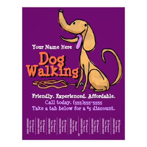 dog walking advertising promotional flyer