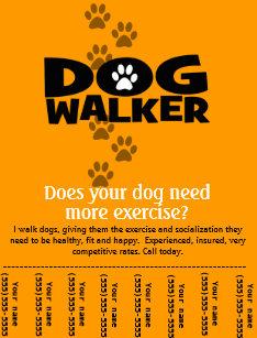 dog walking business tear sheet flyer template