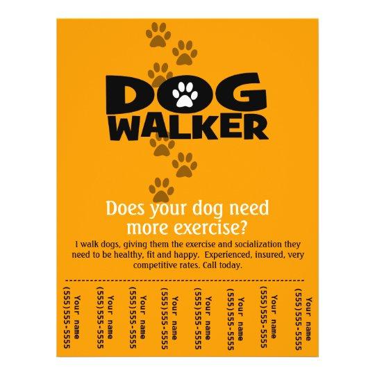 dog walking business tear sheet flyer template zazzle. Black Bedroom Furniture Sets. Home Design Ideas