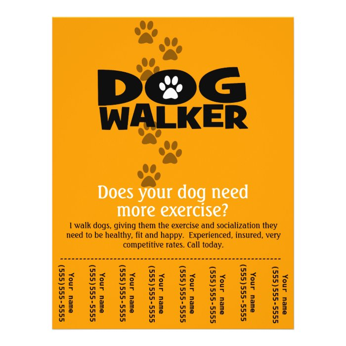 dog walking business tear sheet flyer template zazzle. Black Bedroom Furniture Sets. Home Design Ideas