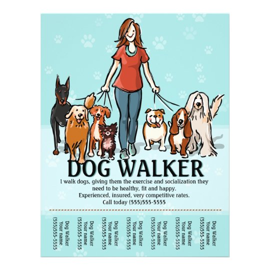 Dog walking dog walker tearsheet flyer for Dog walking flyer template free