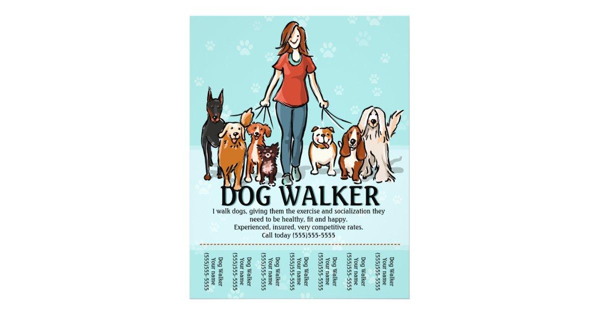 Dog Walking Dog Walker Tearsheet Flyer Zazzle