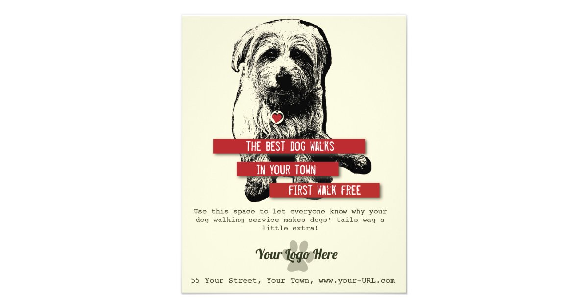 Dog Walking Flyer Personalize All Text Zazzle Com