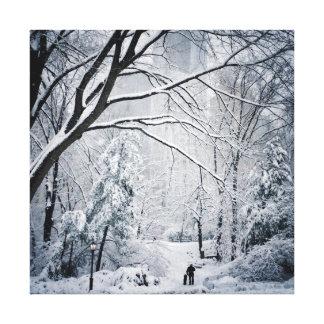 Dog Walking In A Winter Wonderland Canvas Print