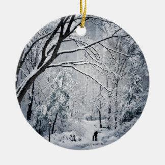 Dog Walking In A Winter Wonderland Ceramic Ornament