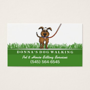 Professional Business Dog Walking & Pet Sitting Services Business Card