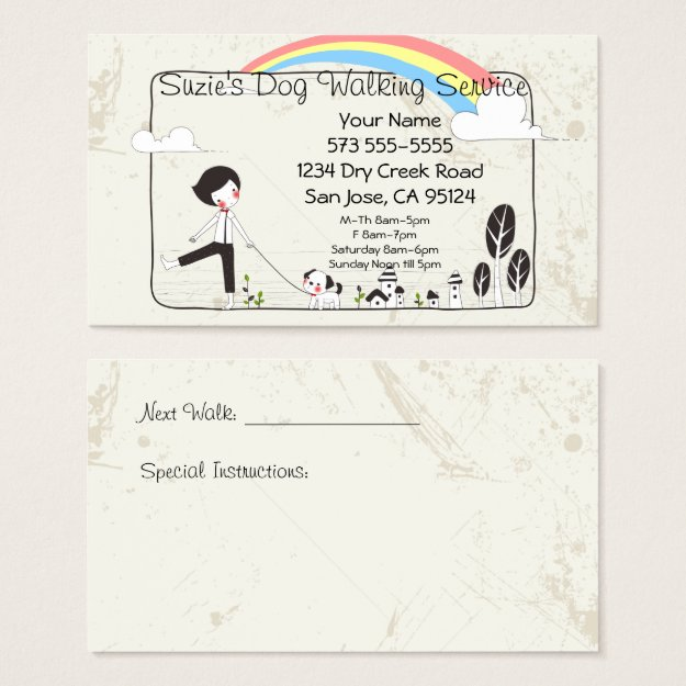 cute dog on leash – Trendy Business Cards ~ Make Your First