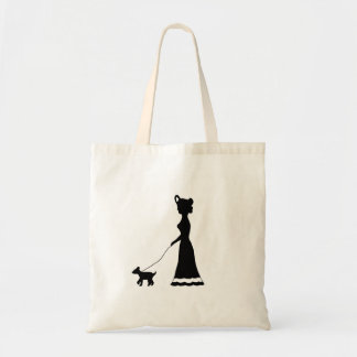 Dog Walking silhouette tote
