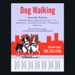 """Dog Walking Walker Boston Terriers Tear Sheet<br><div class=""""desc"""">Promote your dog walking business with these full color eye-catching flyers that you personalize with your own info. Original design by Andie,  illustrator and creator of Off-Leash Art™,  using her hand drawn Boston Terriers illustration.</div>"""