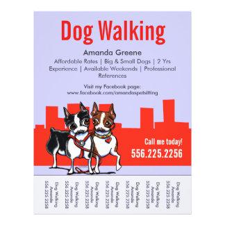 """Dog Walking Walker Boston Terriers Tear Sheet 8.5"""" X 11"""" Flyer"""