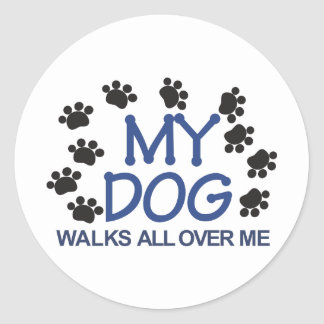 Dog Walks Paws Classic Round Sticker