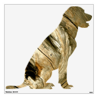 DOG WALL DECAL WITH WOOD ACCENTS