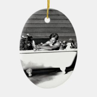 Dog Washes Boy Ceramic Ornament