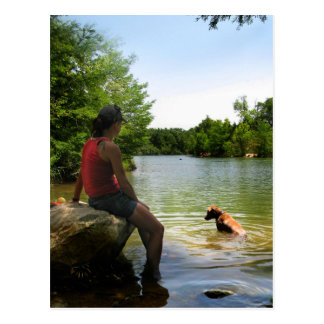 Dog watching at Ladybird Lake - Austin Texas Postcard