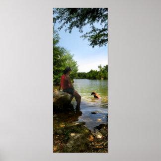 Dog watching at Ladybird Lake - Austin Texas Print