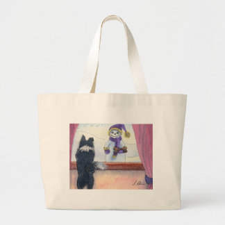 Dog watching snowman bearing gifts tote bags