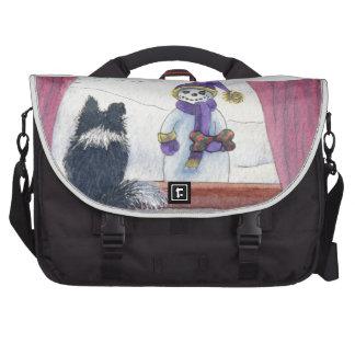 Dog watching snowman bearing gifts laptop messenger bag