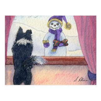 Dog watching snowman bearing gifts postcard