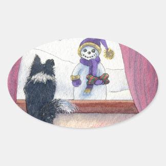 Dog watching snowman bearing gifts oval sticker