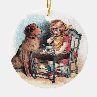 Dog Watching Toddler Eat Ceramic Ornament