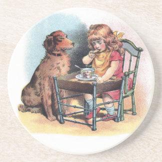 Dog Watching Toddler Eat Coaster