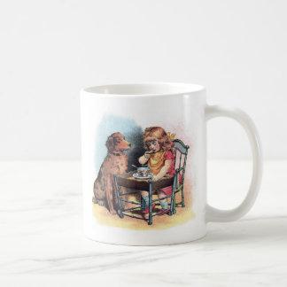 Dog Watching Toddler Eat Coffee Mug