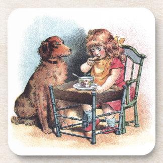 Dog Watching Toddler Eat Drink Coaster