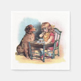 Dog Watching Toddler Eat Napkin