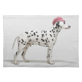 Dog wearing a hat cloth placemat