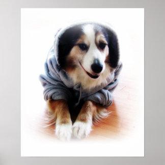 Dog Wearing a Hoodie Sweatshirt Poster