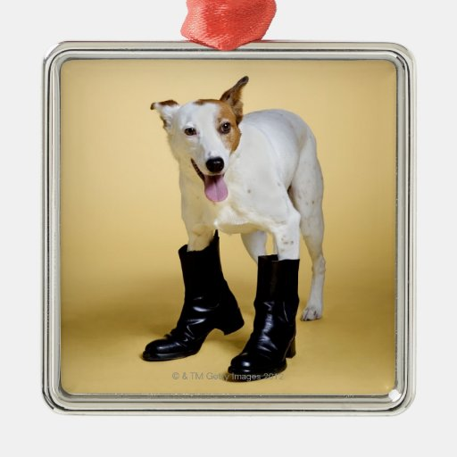 Dog wearing boots square metal christmas ornament