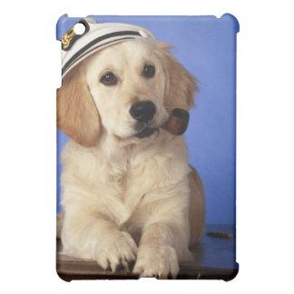 Dog wearing cap, holding smoke pipe iPad mini case