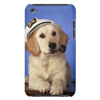 Dog wearing cap, holding smoke pipe iPod Case-Mate case