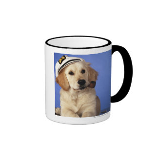 Dog wearing cap, holding smoke pipe ringer coffee mug