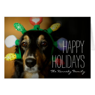 Dog wearing Christmas tiara Card