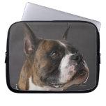 Dog wearing collar, looking away laptop sleeve