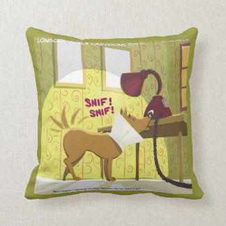 Dog Wearing Cone Sniffs Lamp Funny Throw Pillow